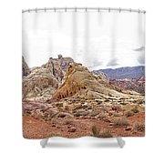 White Domes Panorama Shower Curtain