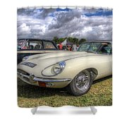White E-type Shower Curtain