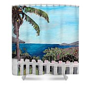 White Fence At English Harbour Antigua West Indies Shower Curtain