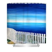 White Fence In Port Reyes National Seashore California Shower Curtain