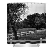 White Fence On The Wooded Green Shower Curtain