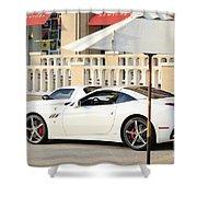 White Ferrari At The Store Shower Curtain