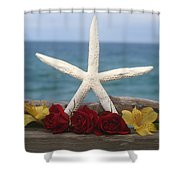 White Finger Starfish And Flowers Shower Curtain