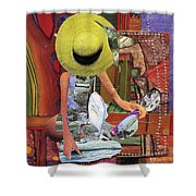 The Green Hat Shower Curtain