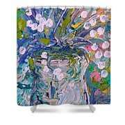 White Flower Abstract Shower Curtain