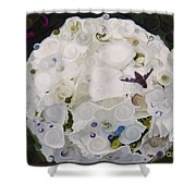 White Flower And Friendly Bee Mixed Media Painting Shower Curtain