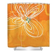 White Flower On Orange Shower Curtain