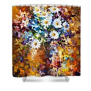 White Flowers - Palette Knife Oil Painting On Canvas By Leonid Afremov Shower Curtain