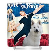 White German Shepherd Art Canvas Print - An American In Paris Movie Poster Shower Curtain