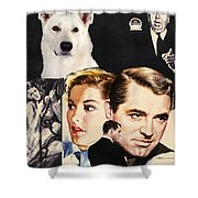 White German Shepherd Art Canvas Print - Suspicion Movie Poster Shower Curtain