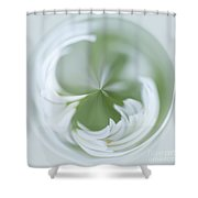 White Green And Round Shower Curtain