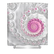 White Grey And Pink Fractal Spiral Art Shower Curtain