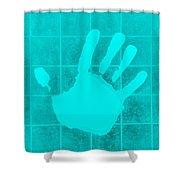 White Hand Aquamarine Shower Curtain