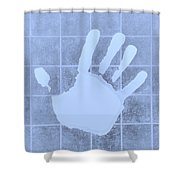 White Hand Cyan Shower Curtain