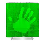 White Hand Green Shower Curtain