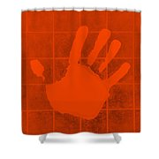 White Hand Orange Shower Curtain