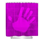 White Hand Purple Shower Curtain