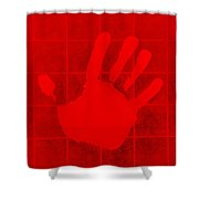 White Hand Red Shower Curtain