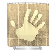 White Hand Sepia Shower Curtain