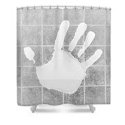 White Hand White Shower Curtain