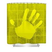 White Hand Yellow Shower Curtain