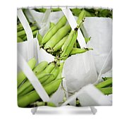 White Handled Bags Containing Fresh Shower Curtain