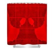 White Hands Red Shower Curtain
