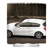 White Hatchback Car Shower Curtain
