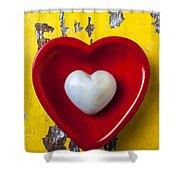 White Heart Red Heart Shower Curtain
