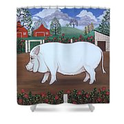 White Hog And Roses Shower Curtain