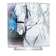 White Horse Abstract Shower Curtain