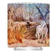White Horses And Bull In The Camargue Shower Curtain