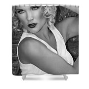 White Hot Bw Palm Springs Shower Curtain