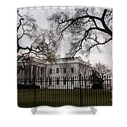 White House On A Cloudy Winter Day Shower Curtain
