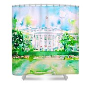 White House - Watercolor Portrait Shower Curtain