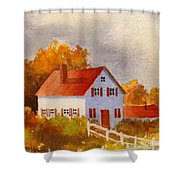 White House With Red Shutters Shower Curtain