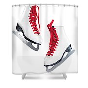 White Ice Skates With Red Laces Shower Curtain