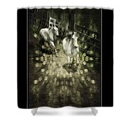 White Into Flares Shower Curtain