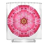 Light Red Zinnia Elegans V Flower Mandala White Shower Curtain