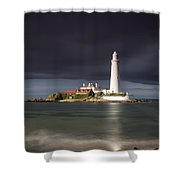 White Lighthouse Illuminated By Shower Curtain