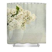 White Lilac In A Cream Jug Shower Curtain