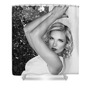 White Linen Bw Palm Springs Shower Curtain
