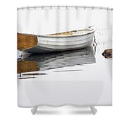 White Maine Boat On A Foggy Morning Shower Curtain