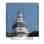 White Maryland State House Cupola Against Blue - Annapolis Shower Curtain