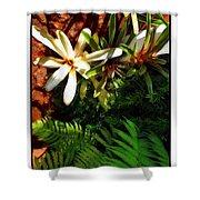 White Maui Flowers Shower Curtain