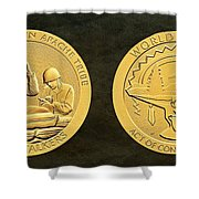 White Mountain Apache Tribe Code Talkers Bronze Medal Art Shower Curtain