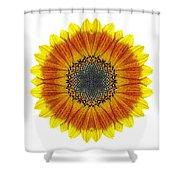 Orange And Yellow Sunflower I Flower Mandala White Shower Curtain