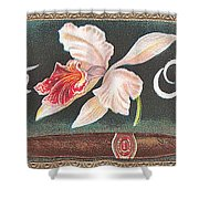 White Orchid Cigar Label Shower Curtain