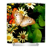 White Peacock Butterfly I I I Shower Curtain