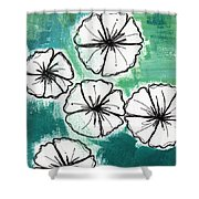 White Petunias- Floral Abstract Painting Shower Curtain